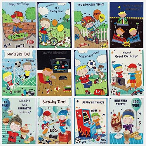 Confezione da 12 pezzi, Little Boy Birthday Cards. In confezione individuale con buste.