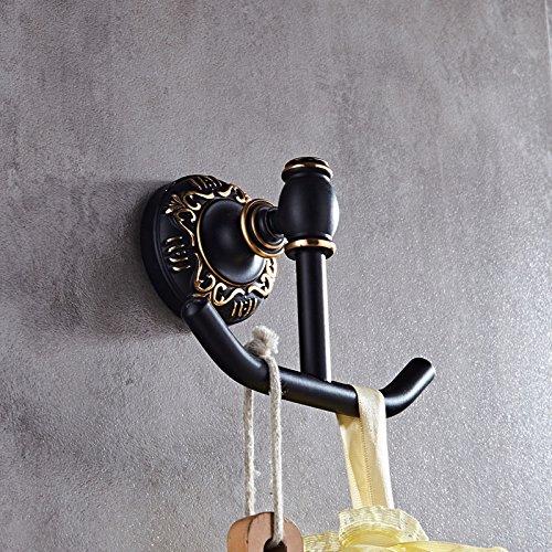 ewtyrgf Badezimmer Wand montiert Handtuch Bars Handtuchhalter Platz Alu-racks Handtuchhalter Hebel Badetuch Rack Mount Kit für Retro schwarz Doppelparallelfalz feste Schwarz Handtuch Ring, Kleiderhaken (Mount Kleiderhaken)