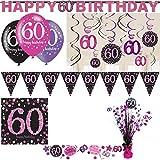 Playflip 60. Geburtstag Party Set Deko Pink Schwarz Frau Zahl Partyartikel