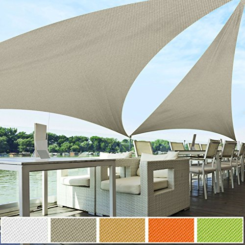 Voile d'ombrage triangle casa pura® gris | résistante, épaisse | imperméable, lavable en machine | 5x5x5m