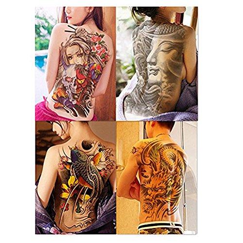 ROSENICE Temporäre Tattoos 4 Extra große Blätter zurück Sexy Tattoos Sticker für Männer Frauen
