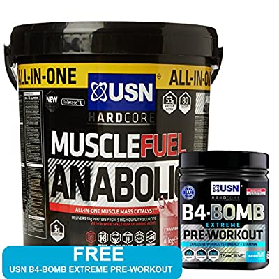 USN Muscle Fuel Anabolic 4 kg,Powerful All-In-One Shake,Supports Muscle Performance,Supports Muscle Recovery and Growth,Free USN B4-BOMB Extreme Pre Workout Fruit Punch 300g (Strawberry) from USN
