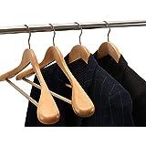 Sajani Hanger Multi Functional Solid Wooden Suit Hangers, Coat Hangers,Suit Hanger,Jacket Hanger,Dress Hanger,Trouser Hanger,Pants Hanger,Blazer Hanger Beige Finish (1)