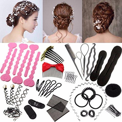 Haare Frisuren Set, LuckyFine Frisurenhilfe Set Haar Styling Zubehör Pads Haarnadeln Clip-Pads Haar Styling Werkze