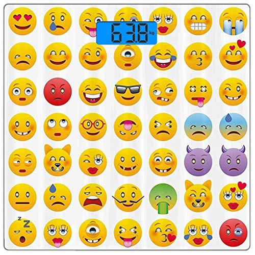 Präzisions-Digital-Körpergewichtswaage Emoji Ultra Slim Gehärtetes Glas-Personenwaage Genaue Gewichtsmessungen, Cartoon Like Smiley Gesichter von Mosters Glücklich Traurig Wütend Wütend Stimmung Ausdr