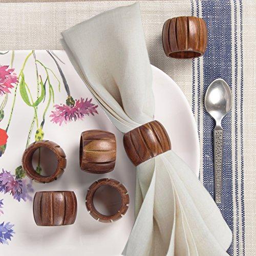 Aheli fabriqué à la main rainuré Lot de 12ronds de serviette en bois pour décoration de table de dîner