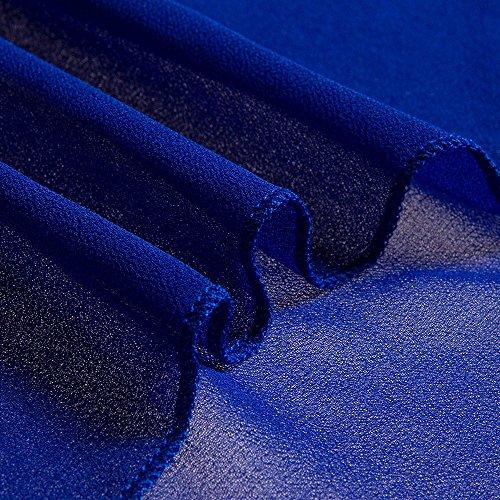 Beauty7 Chiffon Tief-V-Ausschnitt Strandkleider Perspektive Sommerkleider Langärmelig Pareos Bikini-Abdeckung Beachwear Bikini Cover - Up - Weiß/Schwarz/Blau Blau