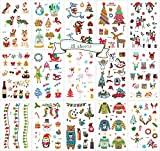 Christmas Temporary Tattoos for Kids,15 Sheets Cute Tattoos for Xmas Party Non Toxic FDA Approved Colorants Cartoon Supplies