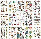 Tatuajes temporales para niños, 15 Hojas, Bonitos Tatuajes de Navidad, Fiesta, no tóxico, Aprobado por la FDA, colorantes, Suministros de Dibujos Animados
