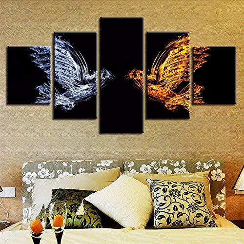 Wandkunst Leinwand Decor Wohnzimmer HD Druck 5 Stücke Tiere Abstrakte Eis Und Feuer Vögel Bilder Modulare Gemälde 30x40/60/80cm,with frame