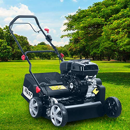 BRAST Benzin Vertikutierer 3,8kW(5,2PS) 40cm Arbeitsbreite 50L Fangkorb Motordrehzahlregler Rasenlüfter 196ccm