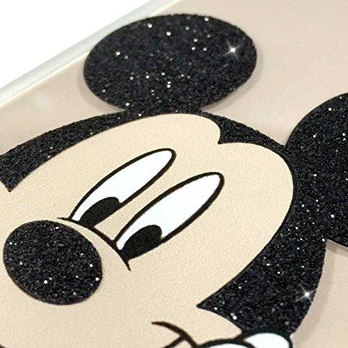 IP6 6S Couverture Coque TPU transparent GEL étui de protection scintillement, Glitter collection spéciale de paillettes, Disney Mickey Mouse, iPhone 6 6S Mickey Mouse