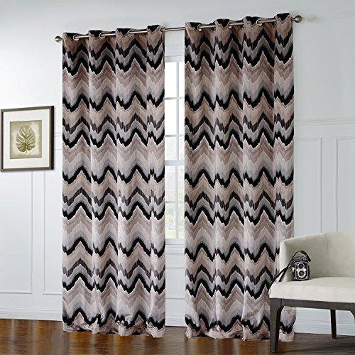 Tab-top-panel (25Größen erhältlich Print dunkelfarbige Broken Line Muster Unterstoff Fenster Behandlung Vorhänge und Vorhänge Panels, Textil, Tab Top, 1*(42