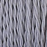 Elektrokabel 2 x oder 3 x 10 m geflochten aus Stoff Farbe Silber - 3 x 0,75 mm