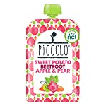 Piccolo Organic - Sweet Potato, Beetroot, Apple and Pear Puree - Stage 1 Baby Food, 100 g (Pack of 5)