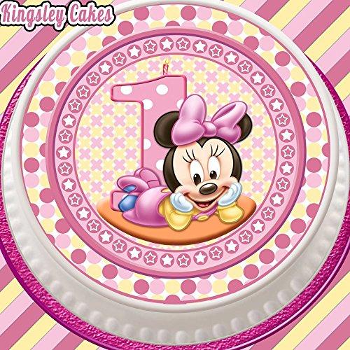 prédécoupée glaçage comestible pour gâteau – 19,1 cm Round Baby Minnie Rose première 1er anniversaire