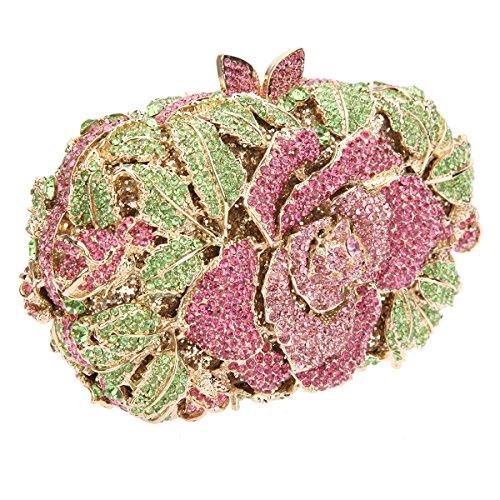 Bonjanvye Shining Studded Rhinestone Rose Flower Clutch Purses and Handbags for Ladies Champagne Green