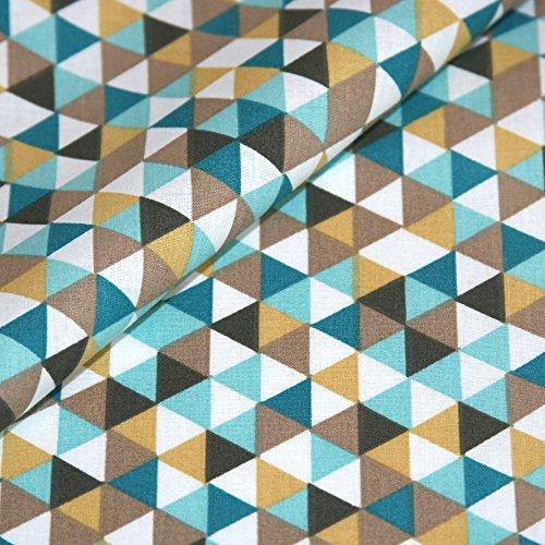Baumwolle Stoff Geometrisch Meterware Ocker Gelb Dreieck Geo Muster  Dekostoff Bezugsstoff Preis Pro Meter