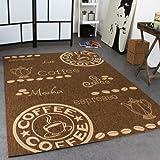 Teppich Modern Flachgewebe Sisal Optik Küchenteppich Coffee Braun Beige Töne, Grösse:80x150 cm