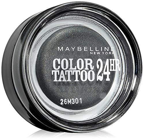 Maybelline New York Lidschatten Eyestudio Color Tattoo 24h Immortal Charcoal 55/Gel-Cream Eyeshadow Dunkelgrau metallic, langanhaltend, 1 x 4 g