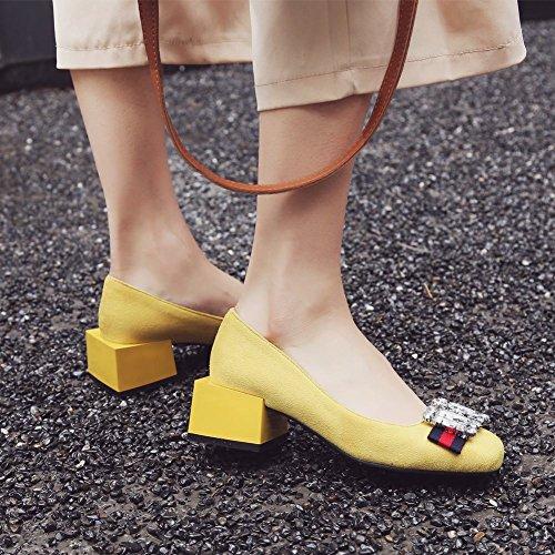 MissSaSa Donna Sottile col Tacco Metà Fashion e Elegante Giallo