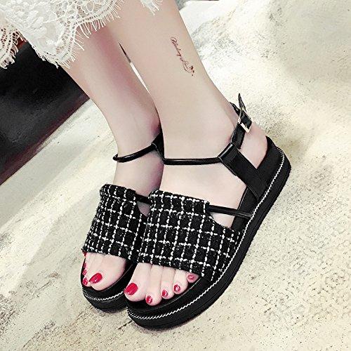 RUGAI-UE Spessore sandali estivi semplice Moda scarpe scarpe della fibbia Black