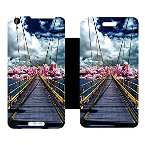 Skintice Designer Flip Cover with Vinyl wrap-around for Lava Iris X1 Atom, Design - Wooden Bridge