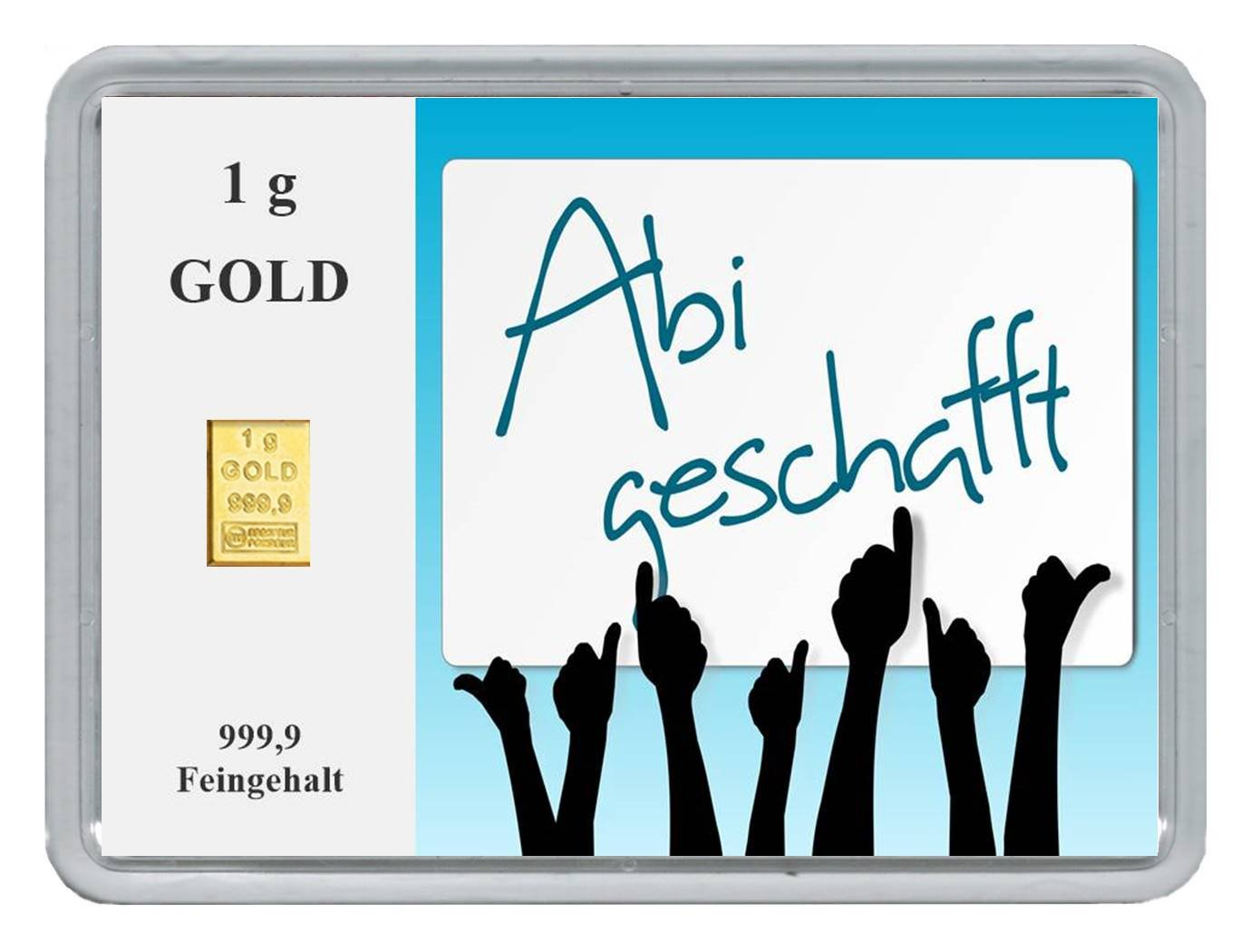 "New Edition 1g Goldbarren 999,9 Feingold in Motivbox""Abitur ."" in edler Goldverpackung 7"