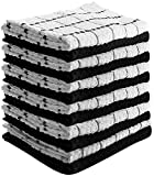Utopia Towels Kitchen Towels (12 Pack, 15x25 Inch) Pure Cotton Machine Washable 6 Black and 6 White Dobby Kitchen Dish Cloths, Tea Towels, Bar Towels