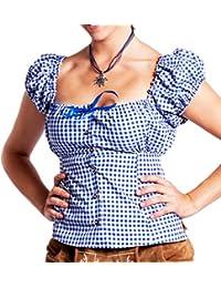 FROHSINN - Damen Trachtenmieder oder Dirndlbluse rot/blau kariert - Trachten Mode