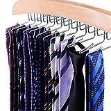 Ohuhu® Kleiderbügel Hosenbügel Klemmbügel Metall Gummiert Rutschfest 12 Stücke Schwarz, Durchmesser: 0.5cm, lang:13.5cm (Tie Hangers)