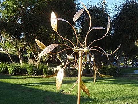 Sculpture du vent pur, manuel et le plus grand cuivre: Les côtés double moulin à vent hélice de pelouse artistique décoration de jardin de haute qualité de la maison