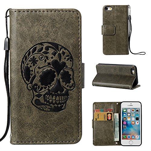 Linvei Tasche für Apple iPhone SE/ 5/ 5S Handy Flip Case Schutz Hülle mit Brieftasche mit Standfunktion Kartenfächer-Braun dunkelgrün