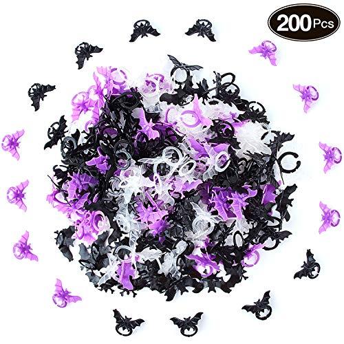 Kostüm Schmuck Cocktail Ringe - Boao 200 Stücke Kunststoff Fledermaus Ring Halloween Kunststoff Ringe für Halloween Party Artikel, Weiß, Schwarz und Lila
