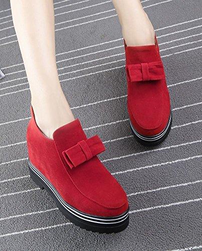 Mee Shoes Damen warm gefüttert Schleife Geschlossen hidden heel Ankle Boots Rot
