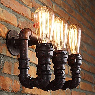 Vintage Retro Water Pipe Wall Light Fixture Industrial Brass 3-Light Wall Sconce with Edison by Sanyi - Read Reviews