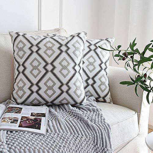 AMY Kissenbezug, gesticktes weiches Kissen Komfortable Lendenkissen Reisematte Geeignet für Zuhause Sofa Outdoor Wagon - Grau (18 × 18 Zoll),B -