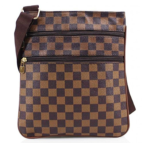 H & G Kariert Damen Cross Body \ Messenger Bag gemustert - Schwarz
