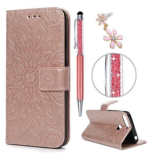 iAdvantec Huawei Y6 2018 / Huawei Honor 7A Hülle Case, Filp PU Leder Wallet Handyhülle Flipcase : Bookstyle Sonnenblume Tasche Schutzhülle in Roségold + Pen + Plug