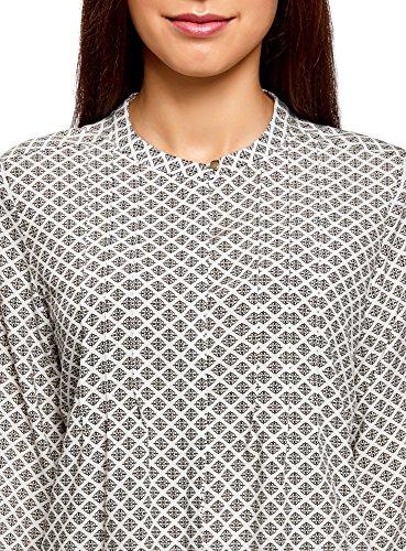oodji Collection Damen Viskose-Bluse mit Ziernaht auf der Brust Weiß (1233E)
