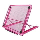 Support d'ordinateur portable, Métal engrener réglable ventilé Laptop Stand Refroidisseur, 24x19CM/9.45x7.48Inch (rose)