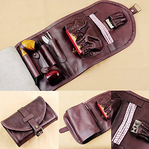Unbekannt Hochwertigem Leder Rauchen Tabak Beutel Tasche Organisieren Rohr Werkzeug Feuerzeug Halter Pocket für 2Rohr, Herren, Braun B