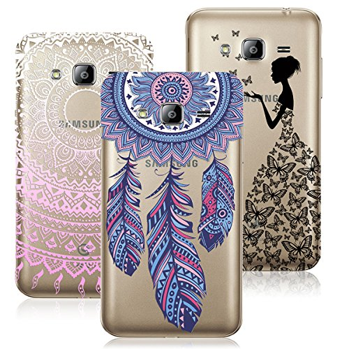3x Coques,VertTek 3 en 1 Coque Samsung Galaxy J3 (2016), Etui Galaxy J3 (2015) Étui TPU Silicone Souple Coque Clair Transparent Cover Ultra Mince Gel Doux Soft Case Housse Protection Anti Rayures Motif Mandala Pink + Dearmcather Bleu + Filles Papillon