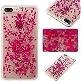 iPhone 7 Plus / iPhone 8 Plus Hülle Silikon, Lomogo Glitzer Schutzhülle Stoßfest Kratzfest Handyhülle Case für Apple iPhone 7Plus / 8Plus (5,5 Zoll) - YIBO33445 Rosa Rot