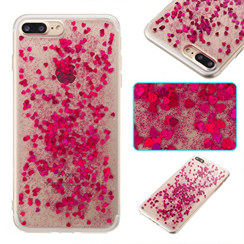 Custodia iphone 7 Plus / iphone 8 Plus, iphone 7 Plus / iphone 8 Plus Cover, iphone 7 Plus / iphone 8 Plus Custodia Silicone,Cozy Hut Case Cover per iphone 7 Plus / iphone 8 Plus, Shiny Sparkly Bling  Rosa amore rosso