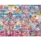 Fototapete Ziegelmauer 3D Bunt 396 x 280 cm Vlies Wand Tapete Wohnzimmer Schlafzimmer Büro Flur Dekoration Wandbilder XXL Moderne Wanddeko 100% MADE IN GERMANY Runa Tapeten 9020012b