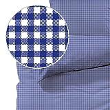 Seersucker Bettwäsche karo, Landhaus Blau, 100% Baumwolle, Bügelfrei, 135 x 200cm + 80 x 80cm, mit YKK-Qualitätsreißverschluss, kariert