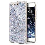 Huawei P10 Plus Hülle,Huawei P10 Plus Schutzhülle,ikasus Kristall Bling Glänzend Glitzer Kristall Strass Diamant TPU Silikon Hülle Handyhülle Crystal Glitzer Schutzhülle für Huawei P10 Plus,Silber