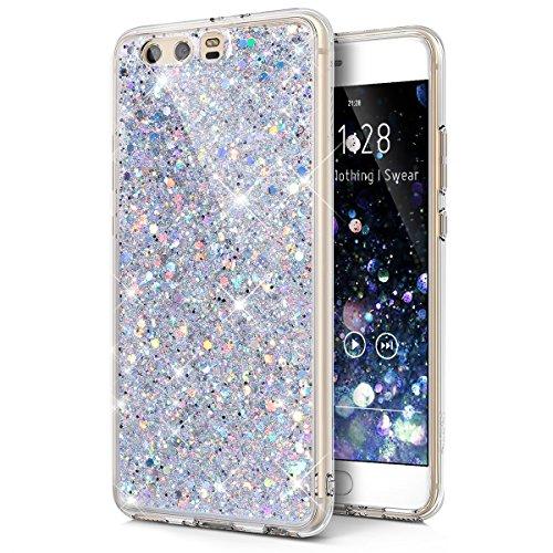 Cover Huawei P10 Plus,Custodia Huawei P10 Plus,Brillante scintilla Bling lucido glitter strass Cover Custodia Trasparente Morbida Silicone Sottile TPU Protettiva Case Cover per Huawei P10 Plus,Argento