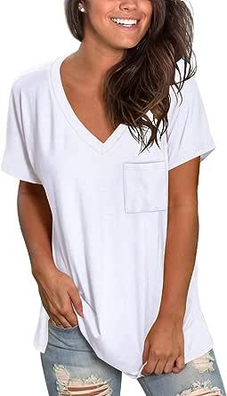 NSQTBA Damen Basic T-Shirt mit V-Ausschnitt, gerollt, kurzärmelig, Sommer, lässig, mit Tasche, S-2XL